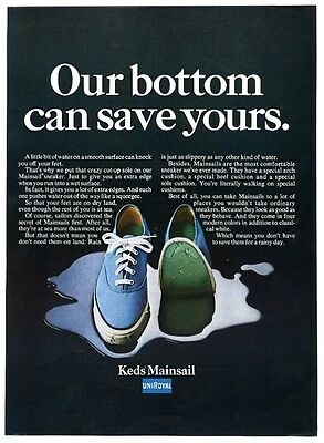 1968 Keds Mainsail blue boat shoe sneaker photo vintage print ad