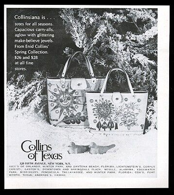 1970 Enid Collins jeweled sun bag purse handbag photo vintage fashion print ad
