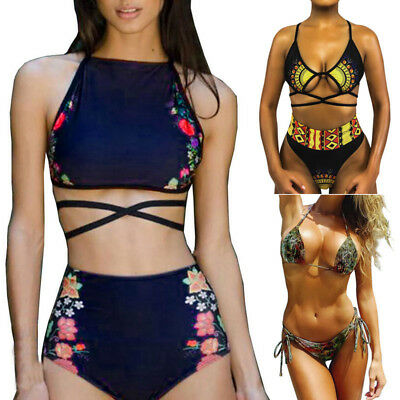 Women Floral Swimwear Bikini Bra Set High Waist Swimsuit Beachwear Bathing Suit