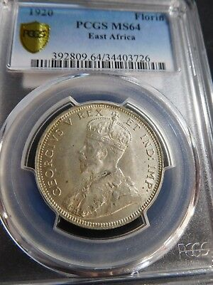 S119 B. East Africa 1920 Florin PCGS MS-64 Extremely RARE Denom. in Any Grade