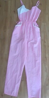 Vintage 70's Pink Strappy Jumpsuit TONI Size 12 Summer Play suit