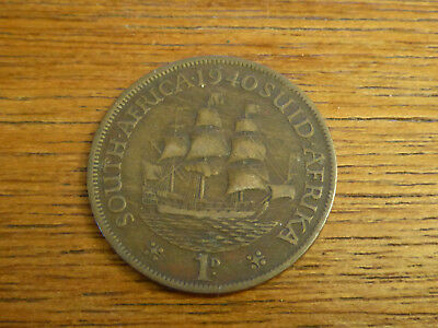 1940 South Africa 1 Penny - Sailing ship George VI