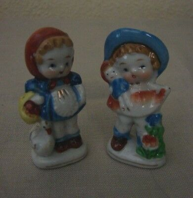"""Lot of 2 Vintage Occupied Japan Girl Figurines 2-3/4"""" with Doll & with Goose"""
