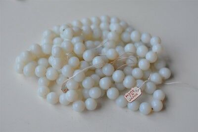 144 Vintage Cherry Brand 10mm White Opal Round Glass Bead Old Haskell Stock K088