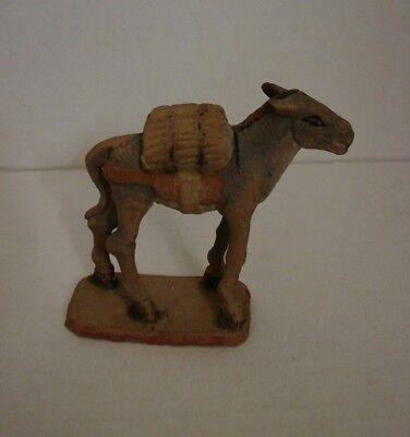 """Sweet Vtg Clay Donkey Mule Nativity Creche Figurine Mexico Hand Painted 3"""" Tall"""