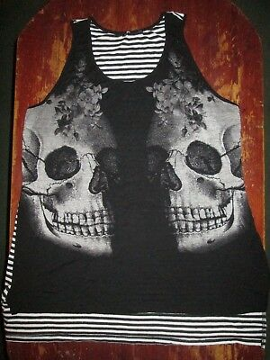 Women's Skull & Flowers Tank Top-Size XL/ Preowned/ Black & White/ Striped