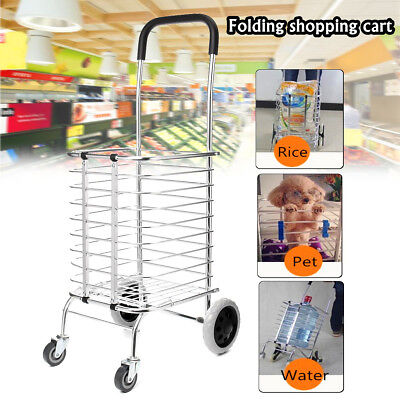 Portable Folding Shopping Basket Cart Trolley Trailer W/ 4 Swivel Wheel Aluminum