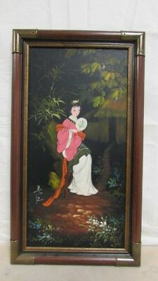 "Signed Japanese Woman W/ Fan Oil Painting Product size: 28"" x 16"" Japan Rare ?"