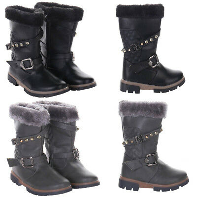 Girls Winter Boots Grey Black School Shoe Infant Kids Fur Lined Quilted Boots UK
