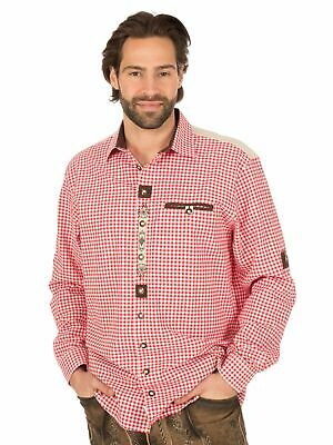 Os-Trachten Traditional Shirt Roll-Up Sleeves Checked 320021-0793 White Red