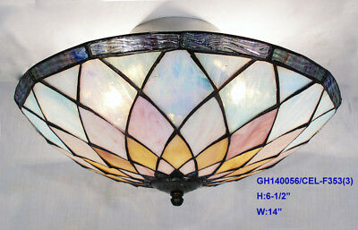 *limited* Tiffany Stained Glass Geometric Leadlight Pendant Ceiling Light 4M5