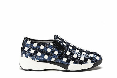 c71ca541971 PINKO Womens Slip-On Sneakers ALLUVIONE Blue Sequins Shoes PRR 1H2050 Y1RJ