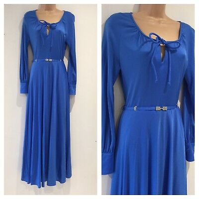 Vintage 70s Beautiful Sky Blue Long Sleeve Diamante Belted Evening Maxi Dress 10