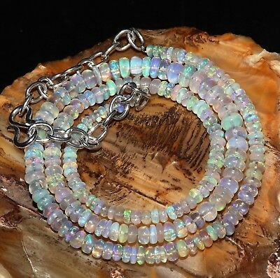"""41 Tcw 3-5 Mm 16""""natural Genuine Ethiopian Welo Fire Opal Beads Necklace-R9895"""