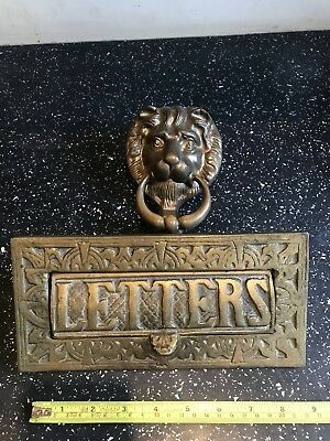 Cast Brass Vintage Letter Box Large Heavy  Arts & Crafts Style , Door Knocker