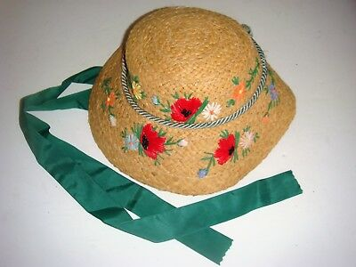 Italian 1930S Childs Straw Hat With Flowers