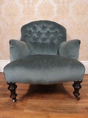 lovely Antique Victorian button back open armchair chair duck egg baby blue