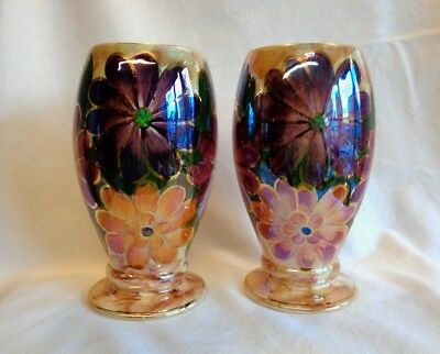AUTHENTIC vintage OLDCOURT WARE LUSTRE pair of matching vases. STUNNING !!!!!!!!