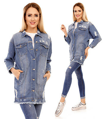 new styles d2577 bce1d DAMEN JEANSJACKE DESTROYED Denim Jacke Lang Oversize Blau Mantel Blooger  V018-3