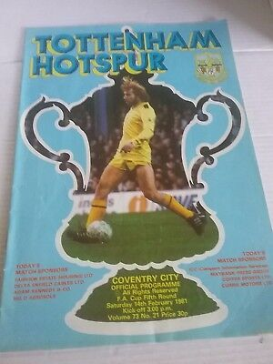 FA CUP 5TH ROUND 14 FEBRUARY 1981 TOTTENHAM HOTSPUR v COVENTRY CITY