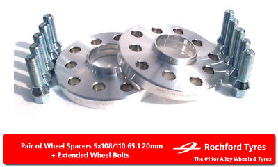 Wheel Spacers 20mm (2) Spacer Kit 5x108 65.1 +Bolts For Peugeot RCZ 09-15