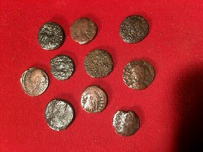 10 Authentic Ancient  240-410 AD ROMAN EMPIRE Bronze Coins Genuine Antique #A