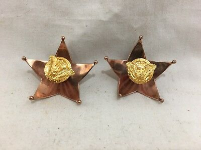 """Pair Rare 1940 Cartier """"Home Front"""" WWII US Patriotic Brooches Gold & Enamel"""