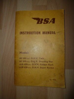 BSA A7 Shooting Star A10 Golden Flash and Super Rocket Owners Instruction Manual