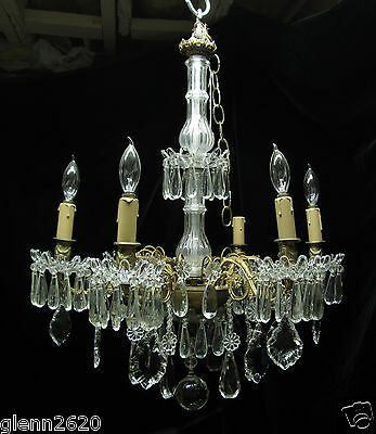 Antique 6 Arm 6 Light French Crystal Chandelier Brass Bronze 22in Wide 24in Tall