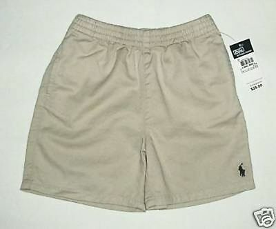 New Polo Ralph Lauren Tan Beige Boys Shorts Navy Pony Logo 3 3T NWT