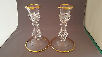 2  Cristal d'Arques Gold Trim Longchamp Made In France Crystal Candleholders