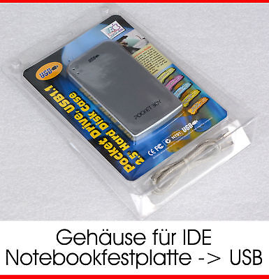 Usb Extern Hdd Case + Cable Adapter Von Ide 44-Pin Pata Hdd Festplatte -> Usb
