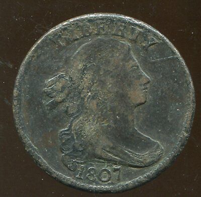 1807 Draped Bust Large Cent, Higher Grade, but heavily corroded