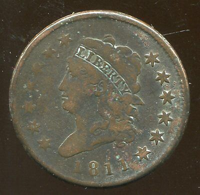1811 Classic Head Large Cent, Fine details, but heavily corroded