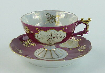 Lefton China Cup and Saucer Footed Mauve White Gold Scalloped Hand Painted