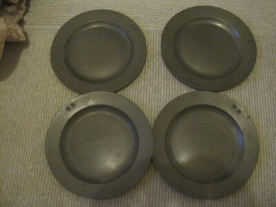 """Impressive Matched Set Of Four Eighteenth Century 9"""" Pewter Plates, 1750-1800"""