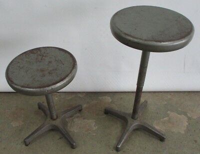 Pair - (2) Vintage 1950's Ajustrite Industrial Stools Adjustable Ht Telescoping