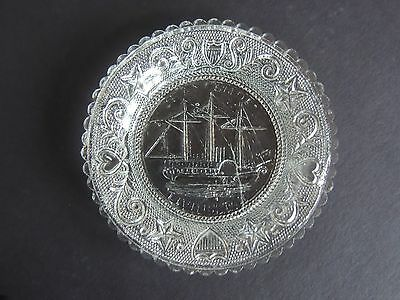 "Antique Sandwich Glass Cup Plate Chancelor Livingston 3 3/8"" original historical"