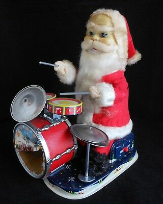 Vintage Alps Battery Operated Santa Claus Toy w/Drums