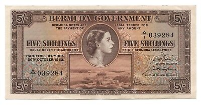 Bermuda 5 Shillings 1952 Almost Uncirculated, P-18A