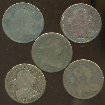 5 Different Low Grade Draped Bust Large Cents, 1797, 1801, 1802, 1803 & 1805