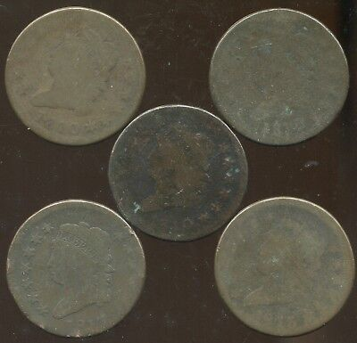 5 Lower Grade Classic Head Large Cents, 3 pieces 1810 & 2 pieces 1813