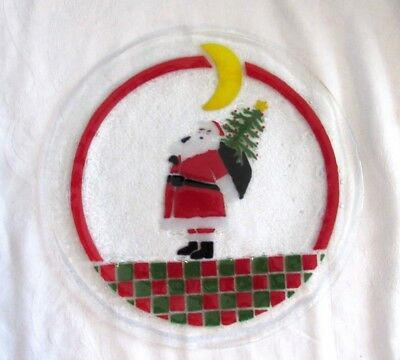 Peggy Karr SIGNED Fused Glass SANTA CLAUS Christmas Platter Checkerboard 14""