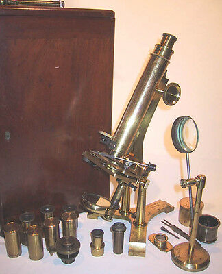 1850 English Lacquered Brass Microscope with J.B. Dancer