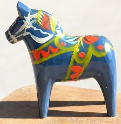 "VINTAGE 4"" Blue DALA HORSE - NILS OLLSONS HAND-CARVED & HAND-PAINTED WOOD"