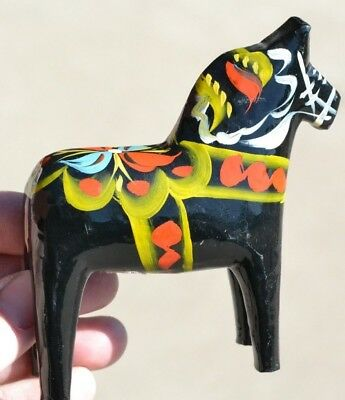 "VINTAGE 4"" Rare Black DALA HORSE - NILS OLLSONS HAND-CARVED & HAND-PAINTED WOOD"