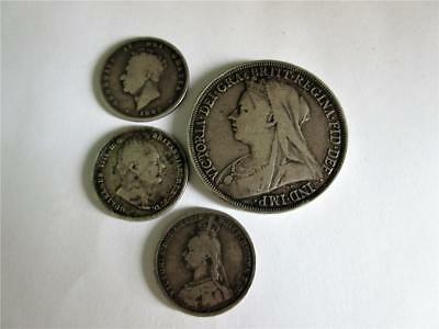 Job Lot of FOUR GEORGIAN & VICTORIAN SILVER COINS - A Crown & 3 Shillings - 44g!