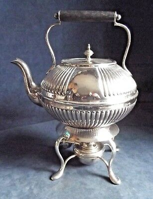 SUPERB Large ~ SILVER Plated ~ FLUTED Spirit KETTLE on Stand ~ c1890