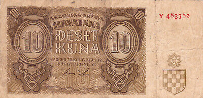 10 Kuna Vg-Fine Banknote From Nazi Croatia During Ww2,1941!pick-5