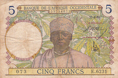 5 Francs Fine Banknote From French West Africa 1942!pick-25